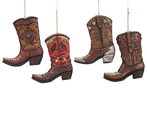Large Western Cowboy Boot Christmas Tree Ornament - Single Resin Xmas Hanging Accessory Decoration