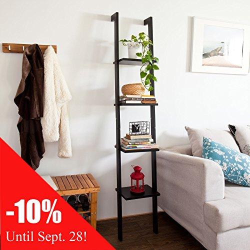 SoBuy Moderna estanter�a escalonada con cuatro estantes, librer�a, estanter�a de pared, 33x180cm, color negro, FRG15-SCH