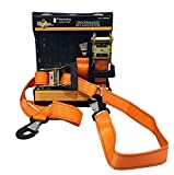 """2 Heavy Duty Motorcycle Ratchet Tie Down Straps, 8' x 1-1/2"""" with Safety Snap Hooks & Soft-tie D Ring, Cargo Accessory for Securing Motorcycles, Dirt Bikes, Kayaks, Atvs, Utvs, Landscaping Equipment"""