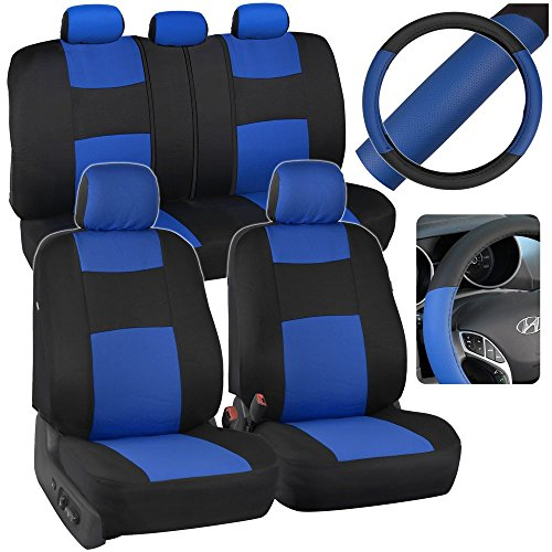 Blue & Black Car Seat Covers w/ Split Bench & PU Perforated Steering Wheel Cover (Blue Car Seat Covers For A Sedan compare prices)