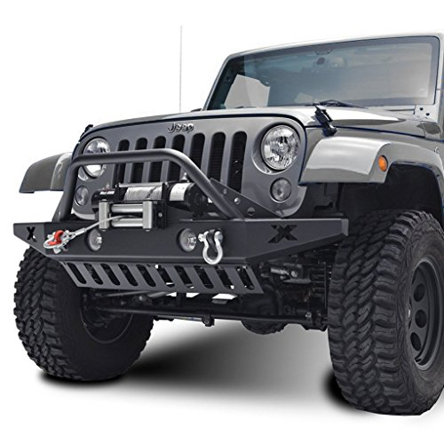 Restyling Factory Jeep Wrangler JK Rock Crawler Front Bumper with D-Ring and Winch Plate Ready&OE Fog Lights Hole-Textured Black (Black) (Bumper Jeep Jk compare prices)