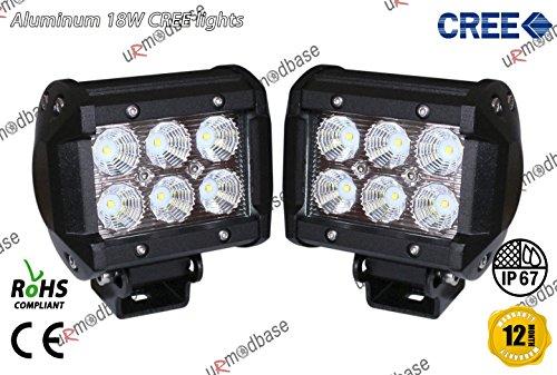 2x 18W 10,2cm Flood faisceau Spot Combo CREE LED lampe de travail hors-route 12V 24V Camion Jeep 4WD