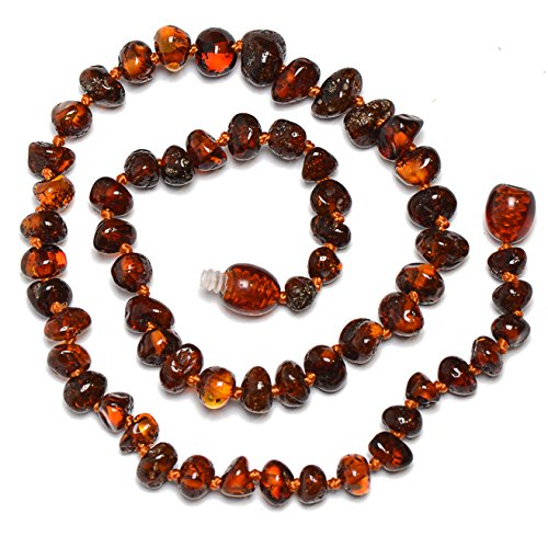 Genuine Amber Teething Necklace for Babies - Safety Knotted - Cognac