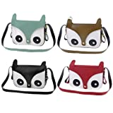 Lady Faux Leather Magnetic Flap Closure Key Card Fox Head Shoulder Bag Handbag