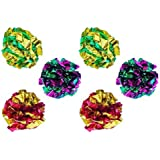 PETFAVORITES™ Mylar Crinkle Balls Cat Toys Best Interactive Crinkle Cat Toy Balls Ever Top Rated Independent Pet Kitten Cat Toys for Fat Real Cats Kittens Exercise, Soft/Light/Right Size (6 Pack)