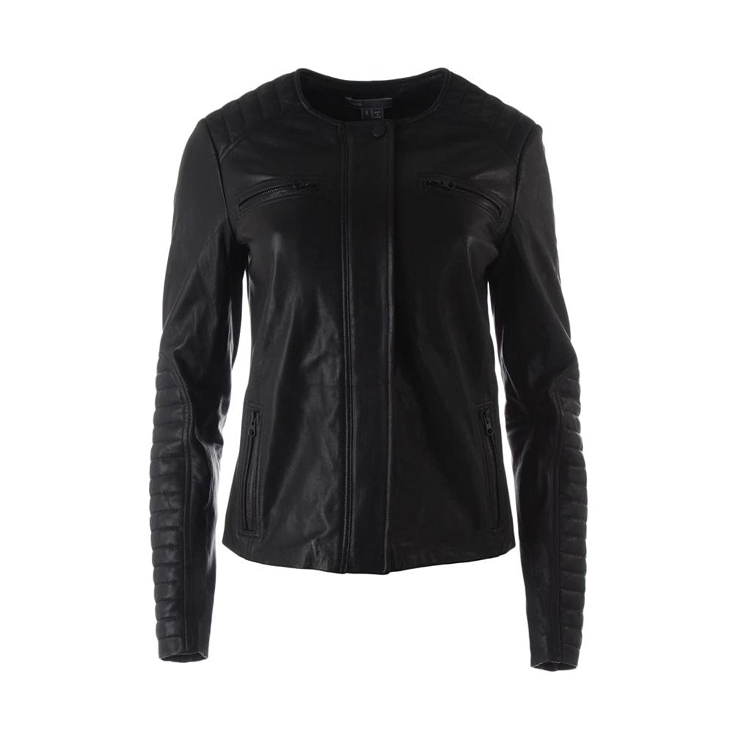 vince двухслойный топ Vince Womens Leather Quilted Detail Motorcycle Jacket