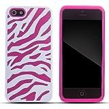 Zooky® Étui coque en silicone/plastique pour Iphone 5 / 5S - rose zèbre