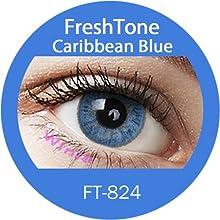 Lente de contacto de color Caribbean azul 3tons 12meses sin Correction