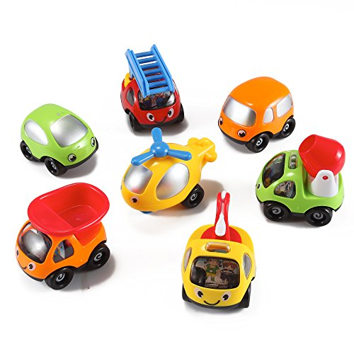 Toon-Town-Baby-Toy-Cars-Set-of-7-Fire-Truck-Tow-Truck-Dump-Truck-Helicopter-more-by-KinderToys