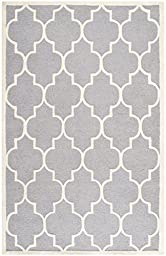 Safavieh Cambridge Collection CAM134D Handmade Silver and Ivory Wool Area Rug, 5 feet by 8 feet (5\' x 8\')