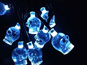 Set Of 20 Scary Skull Halloween Fairy String Light Battery Operated.