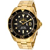 Invicta Pro Diver Black Carbon Fiber Dial 18K Gold Ion-Plated Stainless Steel Watch Men's Quartz Watch with Black Dial Analogue Display and Gold Stainless Steel Plated Bracelet 14356