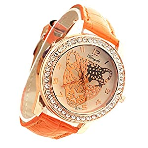Fashion Women's Leopard Rhinestone Head Pattern Watch Faux Leather Band Wrist Watch (Orange)