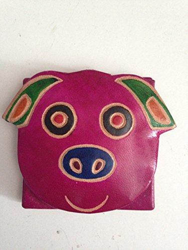 Dipinto a mano in pelle portamonete Floppy Ear Pig Design