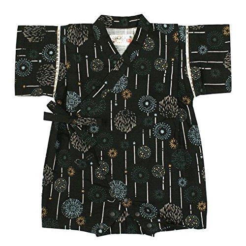 甚平 ロンパース ベビー 男の子 綿100% 日本製生地 花火 和柄 じんべい カバーオール ブラック 70cm