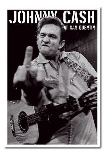 Johnny Cash San Quentin poster sughero Pin Lavagnetta Bianco Con cornice-96.5x 66cms (circa 96,5x 66cm)