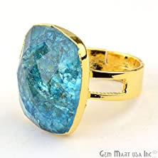 buy 22Kgold Plated Crackle Quartz Gemstone Ring,Cocktail Ring,Statement Ring ,Valentine'S Gift Ring.Snrg-12197