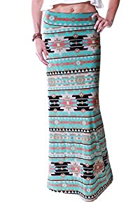 LeggingsQueen Women's High Waisted Poly Spandex Printed Maxi Skirt
