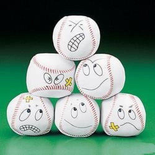 12 Silly Face Vinyl Baseball Kick Balls front-177033