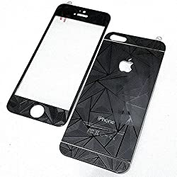 ShopAIS 3D Diamond Tempered Glass For Iphone 4/4s Black - Front + Back Tempered Glass - We offer a Transperent Utra-Thin Back Cover worth Rs 199 Free with all orders