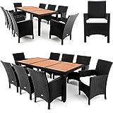 Polyrattan Sitzgruppe 8+1 Tischplatte aus Akazienholz Essgruppe Sitzgarnitur Gartenmöbel Gartenset