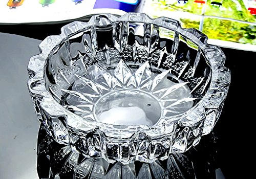 XJF Round Glass Tabletop Ashtray - 5 3/4