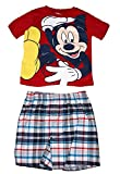 Disney Mickey Mouse Baby Boys T Shirt and Plaid Short Outfit - Red White Blue