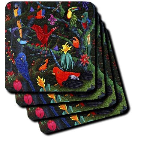 3dRose cst_3215_2 Rainforest Birds Soft Coasters, Set of 8