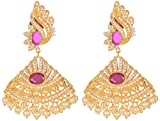 Violet and Purple Alloy Gold Plated Jhumki Earrings for Women (1000031019)