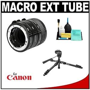 Kenko Macro Automatic Extension Tube Set DG + Tripod + Accessory Kit for Canon EOS Digital Rebel T4i, T3i, T3, T2i, 60D, 7D, 1Ds , 1D X, 5D Mark II, III Digital SLR Cameras