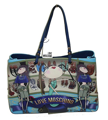 Borsa Love Moschino JC4301 woman handbag shopping saffiano grande girls NAVY