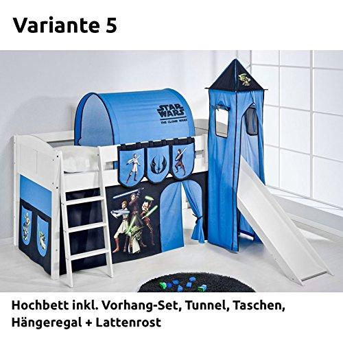 Hochbett Spielbett IDA Star Wars the Clone Wars, mit Turm, Rutsche und Vorhang, weiß, Variante 5 jetzt kaufen