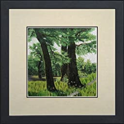 Susho, King Silk Art 100% Handmade Suzhou Silk Embroidery - Grassy Green Forest - White Mat, Black Frame 37165WF
