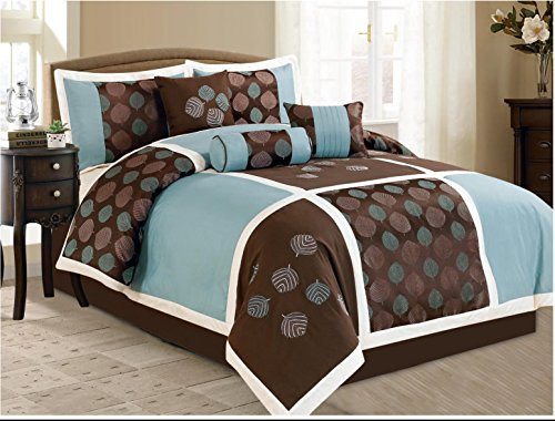 7 Pieces Luxury Coffee & Blue Comforter Set King Size