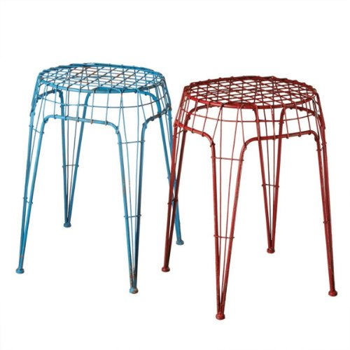 """Set Of 2 Colorful Red And Turquoise Blue Distressed Finish Wire Stools 19.5"""" front-615374"""