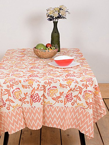 Table Cover Floral Flok Orange Flower 68 By 108 Inches Table Linen 100% Cotton