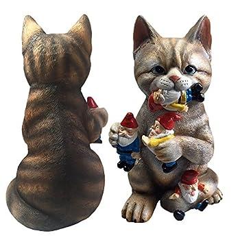 By Mark & Margot - Mischievous Cat Garden Gnome Statue Figurine - Best Art Décor for Indoor Outdoor Home Or Office
