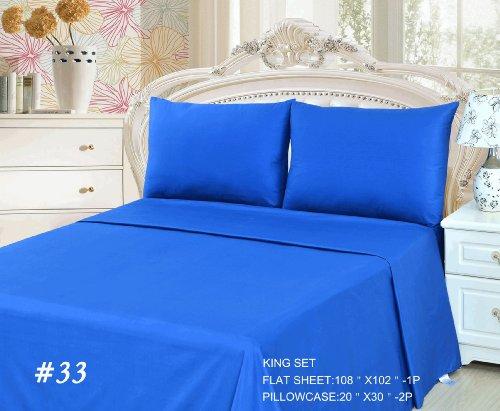 Tache 3 Piece Bed Sheet Set Blue (Flat Sheet)-King front-978069