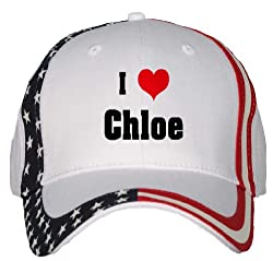 I Love/Heart Chloe USA Flag Hat / Baseball Cap