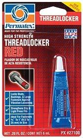 Permatex 27100-12PK High Strength Threadlocker Red, 6 ml (Pack of 12)