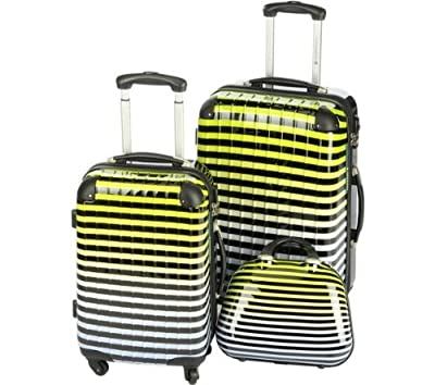 NCE - Set of 2 4-wheeled suitcases + 36cm beauty case - blue (15291-3 BLUE) 15811-3 BLUE 3700543724728 (Luggage sets) by LULU CASTAGNETTE