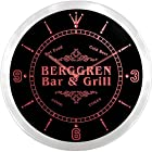 ncu03332-r BERGGREN Family Name Bar & Grill Cold Beer Neon Sign LED Wall Clock