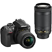 Nikon D3400 Digital Camera Kit (Black) with Lens AF-P DX Nikkor 18-55mm f/3.5-5.6G VR +  AF-P DX NIKKOR 70-300mm f/4.5-6.3G ED VR with Card and DSLR Bag