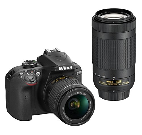 Nikon D3400 Digital Camera Kit (Black) with Lens AF-P DX Nikkor 18-55mm f/3.5-5.6G VR +  AF-P DX NIKKOR 70-300mm f/4.5-6.3G ED VR with 8 GB (Class 10) SD Card and DSLR Bag  available at amazon for Rs.42348