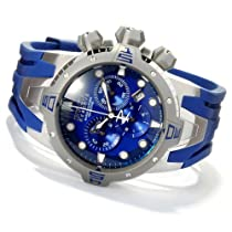 Invicta Mens Reserve Sea Excursion Swiss Made Chronograph Blue Dial Polyurethane Watch 10561