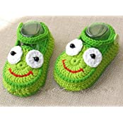 Green Eyes With A Hand-knit Wool White Baby Shoes Baby Toddler Soft Shoes Double Sole One Hundred Days Baby Shoes... - B01A9R43CE