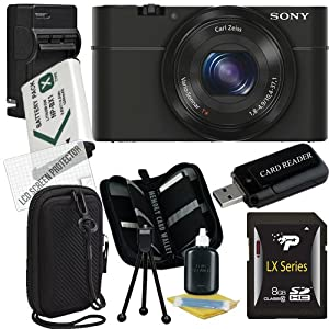 Sony Cyber-shot DSC-RX100 Digital Camera (Black) 8GB Package 1
