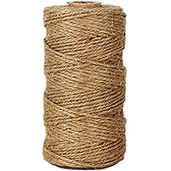 KINGLAKE 300 Feet Natural Jute Twine Best Arts Crafts Gift Twine Christmas Twine Industrial Packing Materials Durable String for Gardening Applications 1 PC