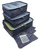 (MiwoLissa) トラベルポーチ スーツケース小分け 旅行 出張 収納 ナイロン製 メッシュ 7点セット (10.ネイビー_ドット)