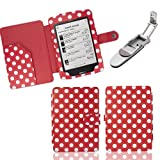 Xtra-Funky Exclusive Polka Dot PU Leather Book Wallet Style Case for Kobo Touch eReader Includes Robotic Pop Up Clip on LED Light - POLKA RED